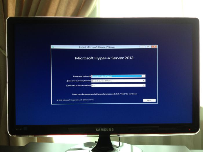 The initial Hyper-V Server 2012 installation screen. Although it looks like a typical Windows Server installation, it is a lot faster than its full-blown counterpart.